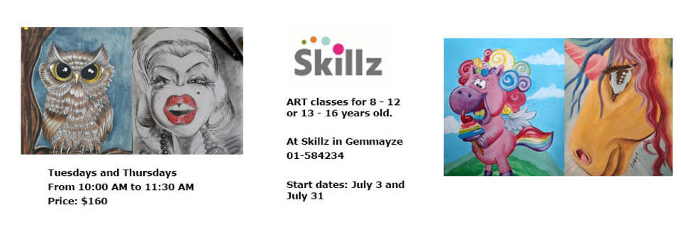 Event cover art classes at skillz for children 2018 summer